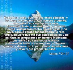 Fundamenta tu vida en la Roca que es la Palabra de Dios... De otra manera la fundamentaras en vano...  No malgastes tu tiempo... Bendiciones.....
