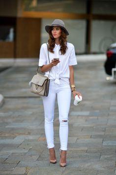 "ecstasymodels: "" The Knot OUTFIT DETAILS Topshop blouse (similar)Zara jeans (similar)Christian Louboutin heels (similar)Chloé bag (similar)Marc Jacobs watch (similar)Hermes bracelet (similar) Fashion Trend by Vogue Haus "" All White Party Outfits, White Summer Outfits, All White Outfit, Summer Outfits Women, White Dress, Mode Outfits, Jean Outfits, Casual Outfits, Fashion Outfits"