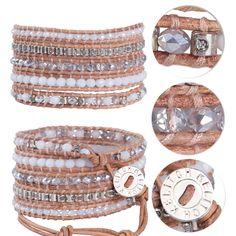 Kelitch Handmade Crystal & Agate on Leather 5 Wrap Bracelet Bangle Chain Jewelry #Kelitch #BangleBeadedcharmchain