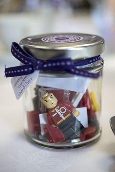 Cute lego wedding favours in mini jam jars