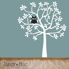 Children's Tree Wall Decal with Owl  Modern Leafy by JaneyMacWalls
