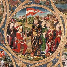 Leopold V Duke of Austria receiving the banner from Emperor Henry VI. From the Babenberger pedigree. Ottonian, Carinthia, Holy Roman Empire, Plantagenet, Heart Of Europe, Herzog, Fantasy Costumes, 12th Century, Deus Vult