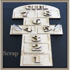 Grande marelle pour mini boite en bois medium 3 mm dim / 21 cm x 14 cm avec les chiffres