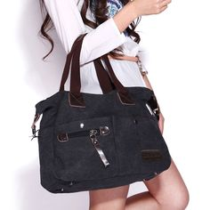 5c0a0eb2dfccf Eshow Damen Canvas Reise Täglich Schultertasche Handtasche Taschen  Umhängetasche Shopper