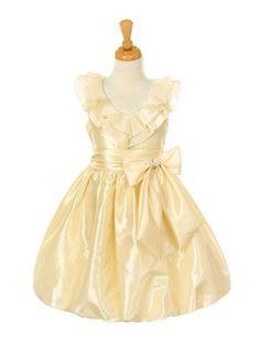 Ivory Ruffled V-Neck Taffeta Bubble Girl Dress - Flower Girl Dresses - GIRLS