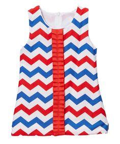 Wholesale - Red & Blue Chevron Ruffled Ribbon Shift Dress