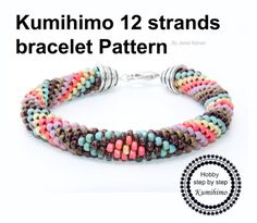 Kumihimo 12 strands Multicolors Bracelet by Hobbystepbystep
