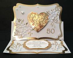 Handmade Card 50th/Golden Wedding Anniversary PERSONALISED Heart & Flowers 3D
