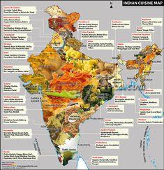 Cuisine Map of India.    Just wondering, but where is my Hyderabadi biryani & mirchi ka salan? :(