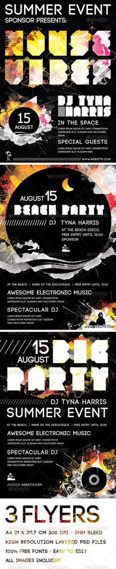 A4 Electronic Music and Beach Party Flyers Pack #GraphicRiver 3 STANDARD A4 FLYERS 21cm X 29 ,7cm 300 DPI – CMYK Purchasing this file you get 3 Layered .Psd Files + 3 .Ai Files in high resolution, print ready. These Flyers are great for any Party or music event, specially electronic music. ALL THE IMAGES AND EFFECTS ARE INCLUDED Both Illustrator and Photoshop files are Layered and Grouped, and can be opened with CS version and superiors. COLOR MODE : CMYK SIZE : 11.7×8.3 inches – 29,7×21 cm…