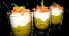 Vasitos de guacamole, queso fresco y salmon ahumado