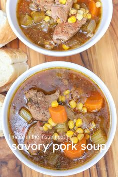 Pressure Cooker Recipe Get comfortable with this Savory Pork Soup made in the pressure cooker. A soup recipe made within 30 minutes, with marinated pork and fresh veggies. Vegetarian Recipes Easy, Easy Dinner Recipes, Easy Meals, Healthy Recipes, Pork Recipes, Crockpot Recipes, Chili Recipes, Cooking Recipes, Pressure Cooker Soup Recipes