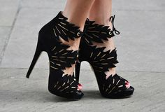 """I found these awesome shoes while surfing the web! Made by Charlotte Olympia. """"Eve Ankle Boots"""" are peep toe and these heels stand at Trimmed in gold with leaf cutouts. Pretty Shoes, Beautiful Shoes, Cute Shoes, Me Too Shoes, Awesome Shoes, Amazing Heels, Gorgeous Heels, Beautiful Life, Charlotte Olympia"""