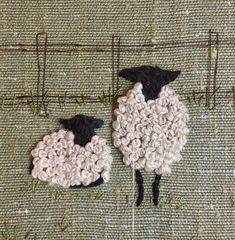 Wool Applique, Embroidery Applique, Embroidery Stitches, Sheep Crafts, Needlework, Cross Stitch, Arts And Crafts, Crochet Hats, Pottery