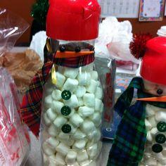 Marshmallow Snowman: empty coffee  creamer bottle filled with mini marshmallows
