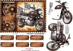 "Triumph Scrambler on Craftsuprint designed by June Young - A Steampunk design of a Triumph Scrambler motorbike in a 'stamp edged' frame with cogs and gears. This design fits a 7"" x 5"" card portrait card and is suitable for lots of male occasions. There are 7 greetings tags, two are blank for your own greeting. There is a matching insert CUP540079_692 - Now available for download!"