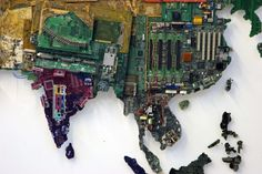 World Map Made from Recycled Computers- I thought this was very clever and from far away the image looks really cool