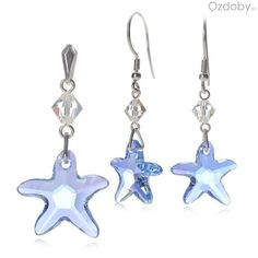 Niebieski komplet Swarowskiego: naszyjnik + kolczyki, w kształcie gwiazdeczek