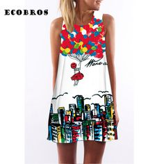 ECOBROS 2017 New Woman Summer Dress casual sleeveless Loose floral print above knee dresses plus size woman clothing dress
