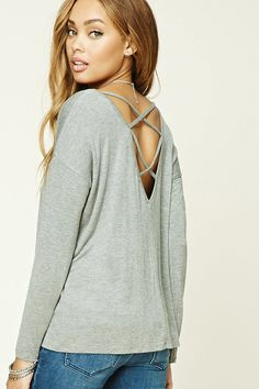 FOREVER 21+ Crisscross Back Top -- Style Deals - A knit top featuring a V-shaped back with crisscross straps, a round neckline, long dolman sleeves, and an oversized silhouette.