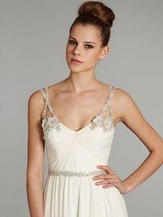 A-line Spaghetti Straps Chiffon Sweep Train White Beading Wedding Dresses