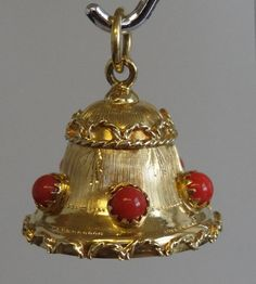 Vintage 18k Yellow Gold and Coral Italian Made Bell by LEJeweler..