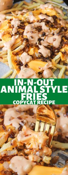 French fries loaded with sweet onions, melted cheese, and zesty sauce make these delicious Copycat In-N-Out Animal Style Fries! Now you can make these anytime at home with this easy recipe! Yummy Snacks, Snack Recipes, Dinner Recipes, Yummy Food, Potato Recipes, Appetizer Recipes, Cooking Recipes, French Fries Recipe, Homemade French Fries