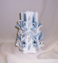 Carved candle # blue and silver twist candle