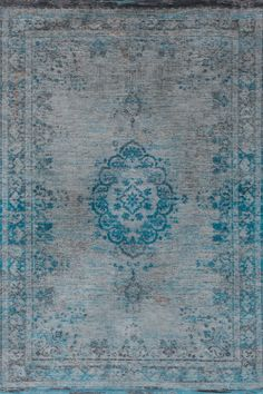 Karpet Vintage Fading Medallion Grey Turquoise 8255