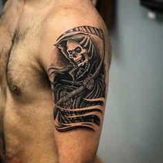 man shoulder grim reaper tattoos azrail dövmeleri