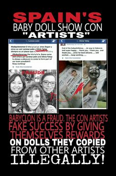 Babyclon counterfeits other artists dolls. Tries to sell them at fraudulent doll show they created!