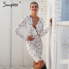 4de9be1bdaf Simplee Sexy v neck lace dress women Floral perspective vintage winter dress  autumn Long sleeve bodycon