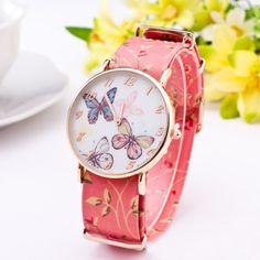Belleza moda Casual Watch mujeres para mujer reloj de pulsera 2015 nuevo  estilo elegante genuino patrón de mariposa de cuero reloj de cuarzo  analógico(China ... c09c1ddcaa6a