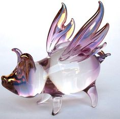 Pig Wings Flying Figurine Purple Pink Gold by ProchaskaGallery, $75.00