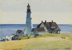 Edward Hopper - Lighthouse and Building, Portland