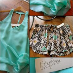 Love the cute patterned soft shorts with cute colored tank.  Would be great vacation item