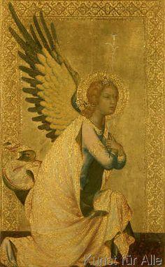 Simone Martini: Angel of the Annunciation. Art Print, Canvas on Stretcher Renaissance Kunst, Giorgio Vasari, Italian Paintings, Archangel Gabriel, Byzantine Icons, Catholic Art, Dream Art, Angel Art, Martini