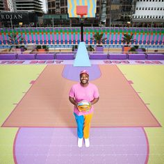 The half-sized court, which is designed for three-a-side basketball, is covered in 3D-printed polypropylene tiles. Basketball Players, Basketball Court, City Of Birmingham, Free Throw, Mexican Designs, South London, 3d Prints, Nike Fashion, Geometric Designs