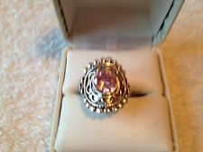 DELIGHTFUL 3.0CTS. ROUND PINK KUNZITE RING SIZE 9 WITH SS925