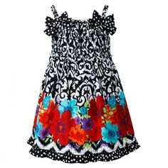 Little Girls' Vintage Print Dress with Flowers and Dots -