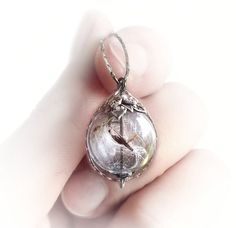 Dandelion necklace, silver glass ball necklace with real dandelion seeds, Nature's Treasure collection
