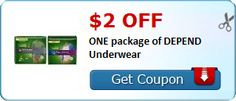 New Coupon!  $2.00 off ONE package of DEPEND Underwear - http://www.stacyssavings.com/new-coupon-2-00-off-one-package-of-depend-underwear/