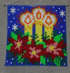Artículos similares a Handmade Christmas Three Candles Beaded Banner with Nylon Cord Hanger en Etsy Pony Bead Patterns, Beaded Jewelry Patterns, Peyote Patterns, Beading Patterns, Cross Stitch Patterns, Pony Bead Crafts, Beaded Crafts, Christmas Sewing, Handmade Christmas