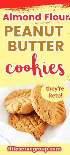 This recipe for Keto Peanut Butter Cookies will remind you of the traditional peanut butter cookie you grew up on. The use of almond flour produces a low carb peanut butter cookie that has the perfect texture without all the carbs. Keto Cookies, Almond Flour Cookies, Almond Flour Recipes, Almond Flour Desserts, Almond Flour Biscuits, Keto Biscuits, Keto Pancakes, Keto Peanut Butter Cookies, Low Carb Peanut Butter