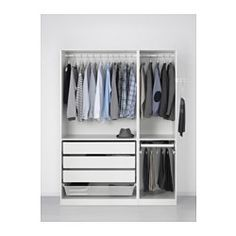 PAX Wardrobe - standard hinges - IKEA // good for man, check hanging length White Wardrobe, Pax Wardrobe, Built In Wardrobe, At Home Furniture Store, Modern Home Furniture, Closet Bedroom, Closet Space, Pax Planer, Armoire Pax