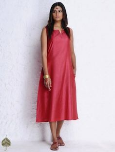 Red Silk Cotton Sleeveless Dress with Pockets by Jaypore