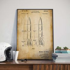 Rocket Missile Patent Print Gift for Soldier Rocket Patent