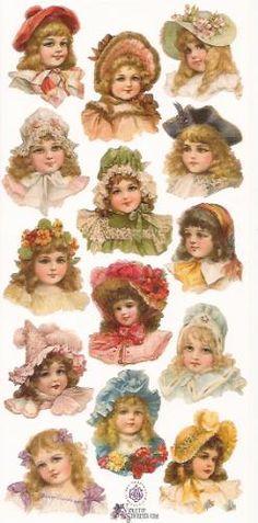 Meisjes met hoedjes poezieplaatjes Stickers P20