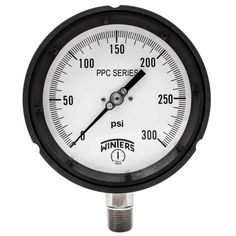 PPC Series 4.5 in. Black Phenolic Case Process Pressure Gauge with 1/2 in. NPT LM and Range of 0-300 psi