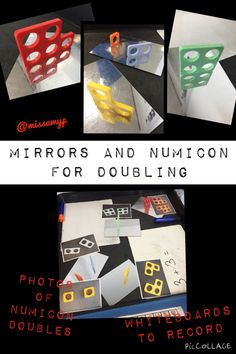 Numicon and mirrors to solve doubling questions. Maths Eyfs, Eyfs Classroom, Math Literacy, Preschool Math, Teaching Math, Teaching Ideas, Year 1 Maths, Early Years Maths, Early Math